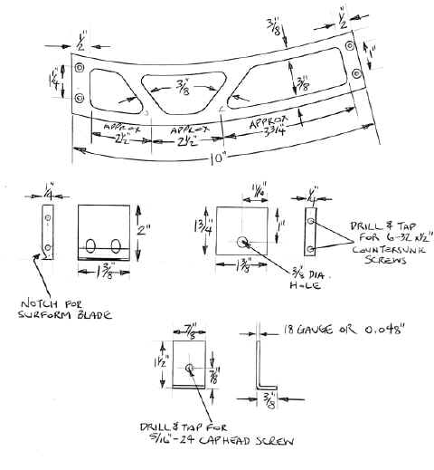 Detailed drawing of components needed for building a aluminum wheel arch plane.