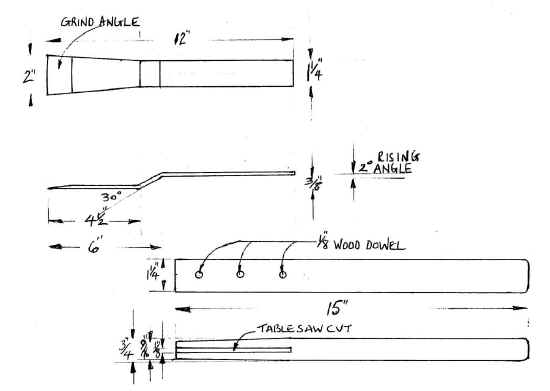 Sketches showing an alternative for making a clay chisel.