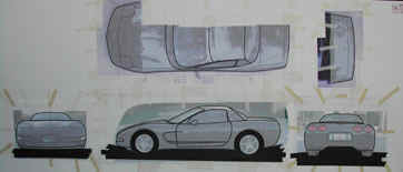 The full tape drawing of the 1/5th scale Chevy Corvette ready to begin the armature for the scale model.
