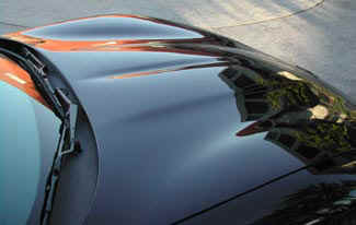 C5 Corvette, close up of  hood details.