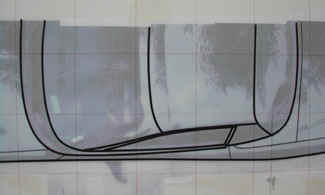 Close up of the plan, mid section of the tape drawing.