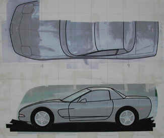 Side and plan view of the 1/5th scale tape drawing for the Chevy Corvette.