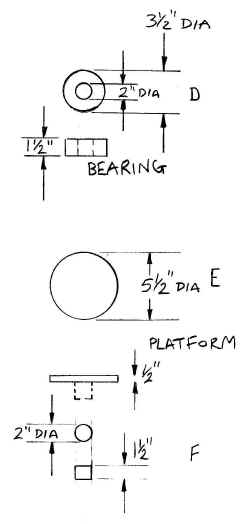 Engineering drawing of bearing and spinning jig platform.