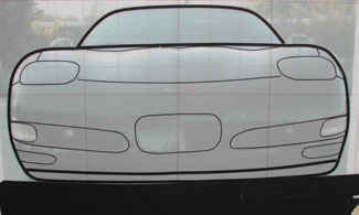 Front view tape drawing of Chevy Corvette.