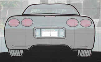 Detailed tape drawing of rear view of Chevy Corvette.
