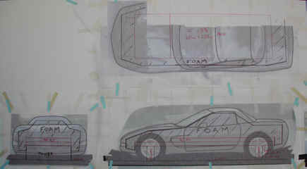 Three views of the drawing for the armature of a C5 Chevy Corvette.